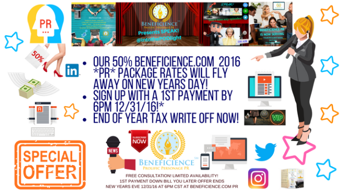 LAST CHANCE 2016 Beneficience.com 50% #PR Package Rates Will Fly Away on New Year's Day!