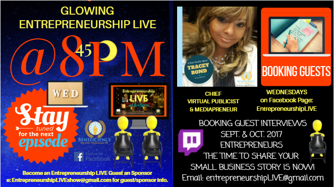 Entrepreneurship LIVE @ 8:45pm CT is booking Entrepreneur guests now!
