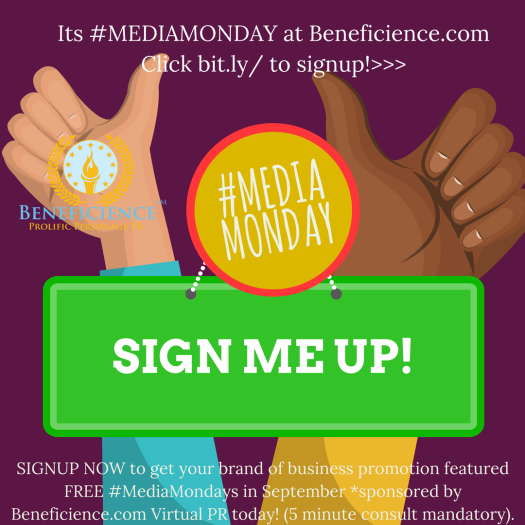 #MEDIAMONDAY Promo PR Freebie - Mentionable at Beneficience.com Virtual PR
