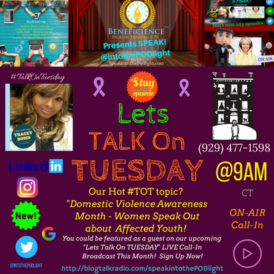 Our Hot #TOT topic- #TalkOnTuesday DomesticViolenceAwarenessMonth - Women Speak Out about affected youth! BlogTalkRadio.comSpeakIntoThePodlight