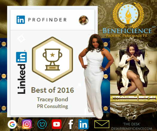 Linked In Profinder Best of 2016 and 2017 Tracey Bond PR Consulting Beneficience.com